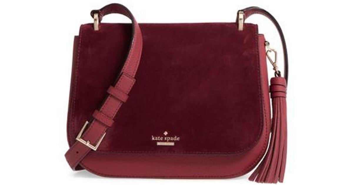 Lyst Kate Spade New York Daniels Drive Tressa Suede Leather Shoulder Crossbody Bag In Purple