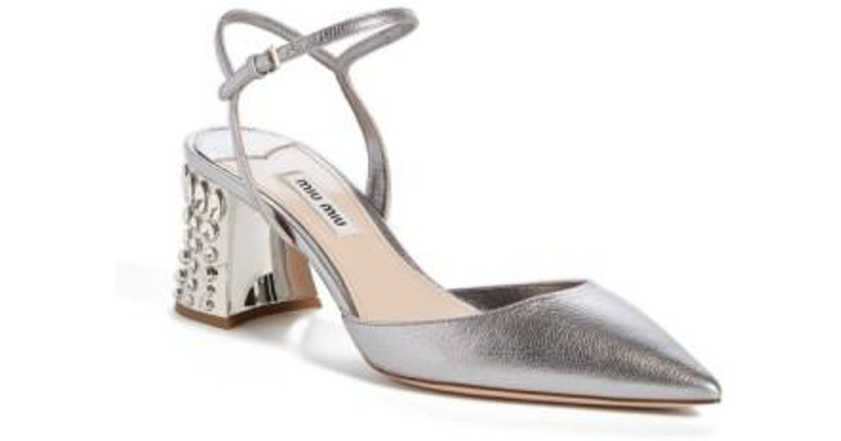 742ef4f06a00 Lyst - Miu Miu Jeweled Heel Ankle Strap Pump in Metallic