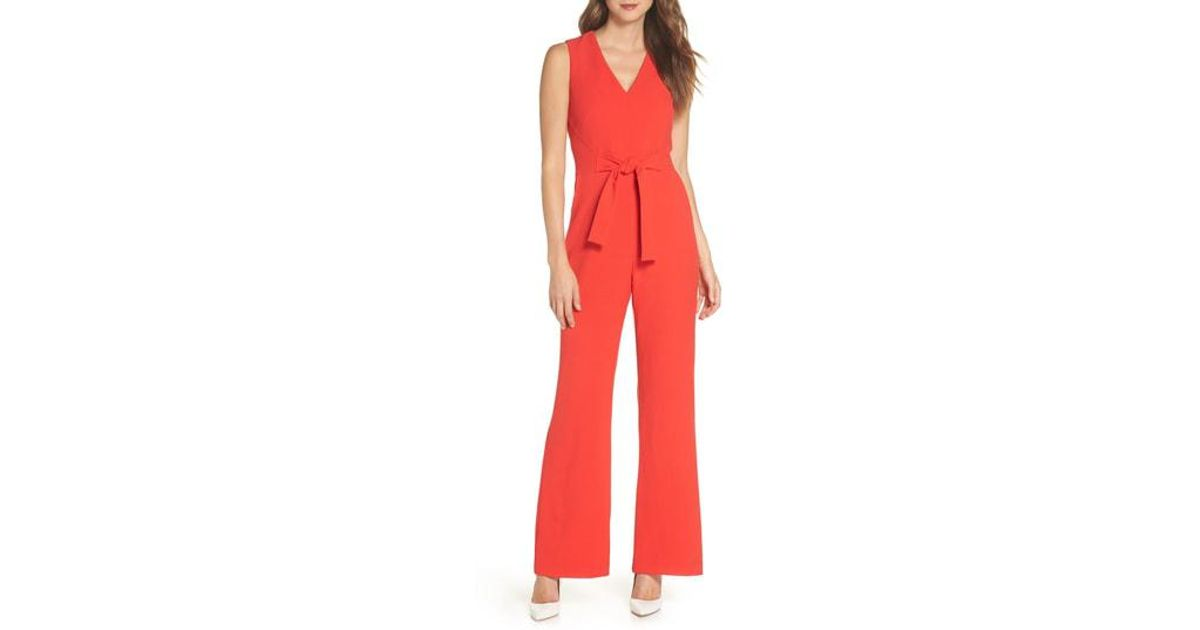 3df556bff1a Lyst - Vince Camuto Crepe Tie Front Wide Leg Jumpsuit in Red - Save 63%