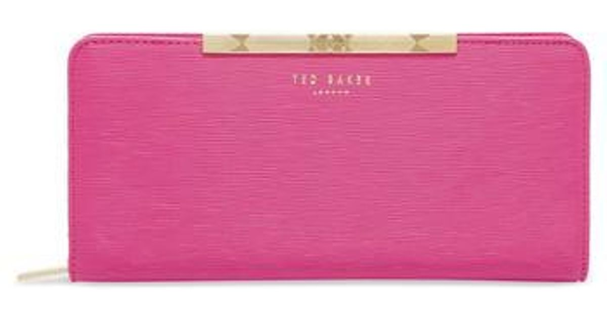 0471c7f512bc44 Lyst - Ted Baker Yasmine Plisse Leather Matinee Wallet in Pink