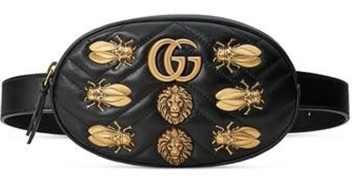 e4c48b69337a Lyst - Gucci Gg Marmont 2.0 Animal Stud Matelasse Leather Belt Bag in Black