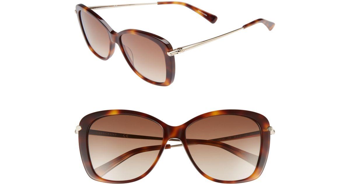 5e93f9e3a01 Lyst - Longchamp 56mm Gradient Lens Butterfly Sunglasses - Blonde Havana in  Brown