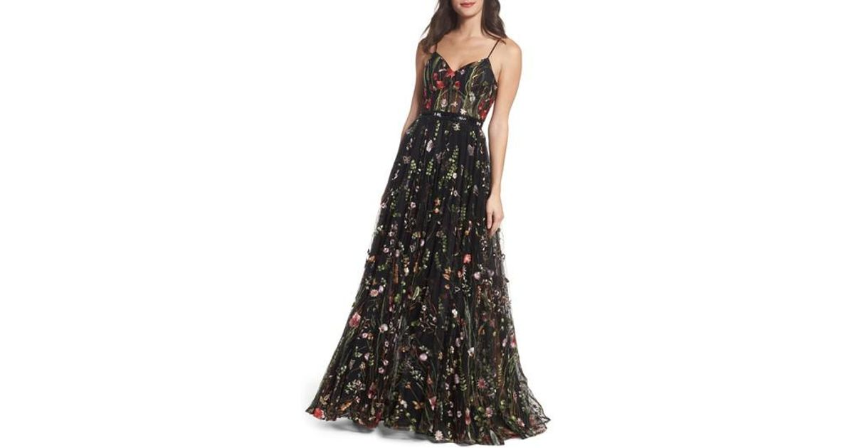 Lyst - Mac Duggal Embroidered Bustier Gown in Black