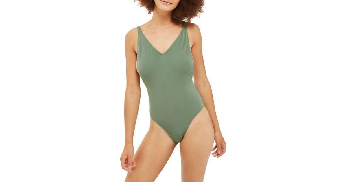 702f18f166016 Lyst - TOPSHOP Pamela One-piece Swimsuit in Green
