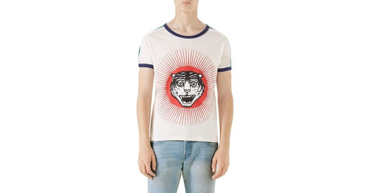3b16ce82 Gucci Cat Graphic Ringer T-shirt in White for Men - Lyst