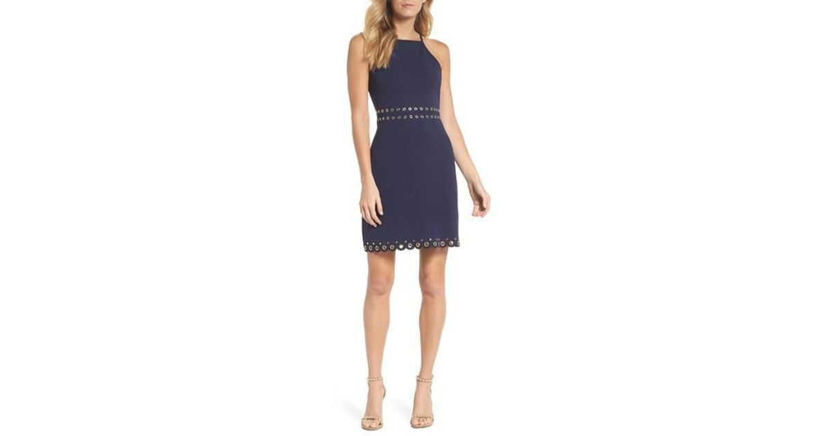 bc7519c75b Lyst - MICHAEL Michael Kors Grommet Trim Scallop Hem Sheath Dress in Blue