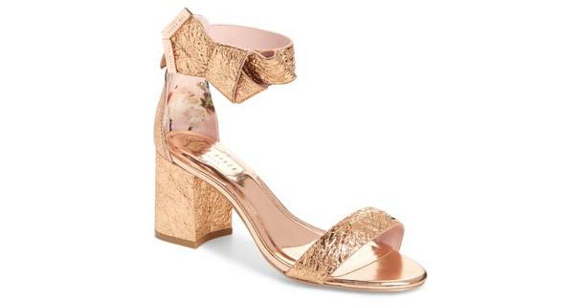 84870a4c3 Lyst - Ted Baker Kerria Block Heel Sandal in Pink