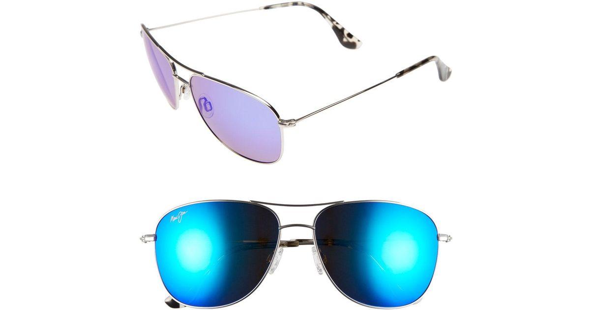 adc8ac8e8d5a0c Lyst - Maui Jim Cliff House 59mm Polarizedplus2 Metal Aviator Sunglasses -  in Blue
