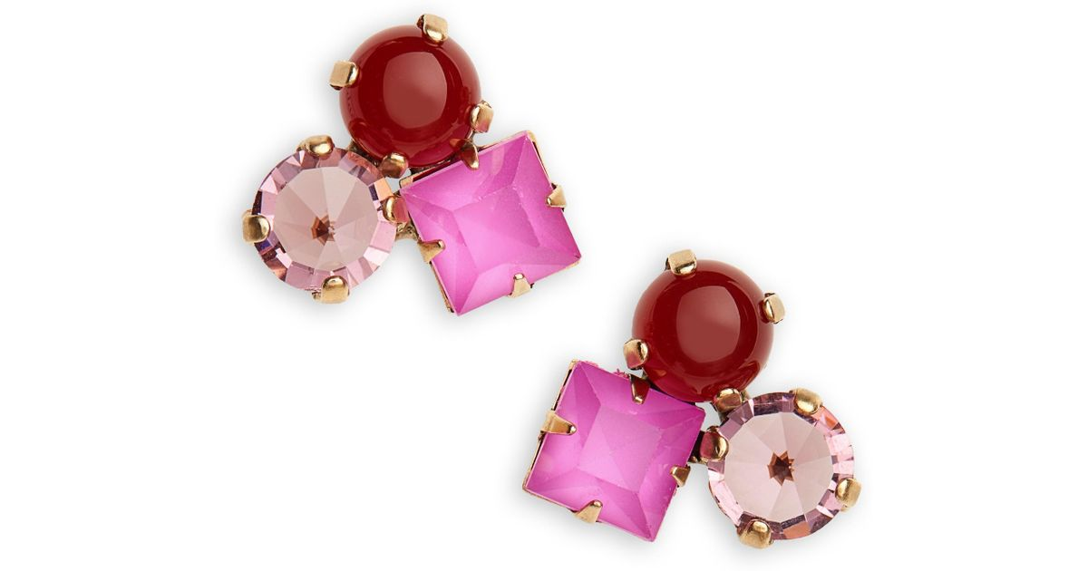 86c98c26d Lyst - Loren Hope Harlow Cluster Stud Earrings in Pink
