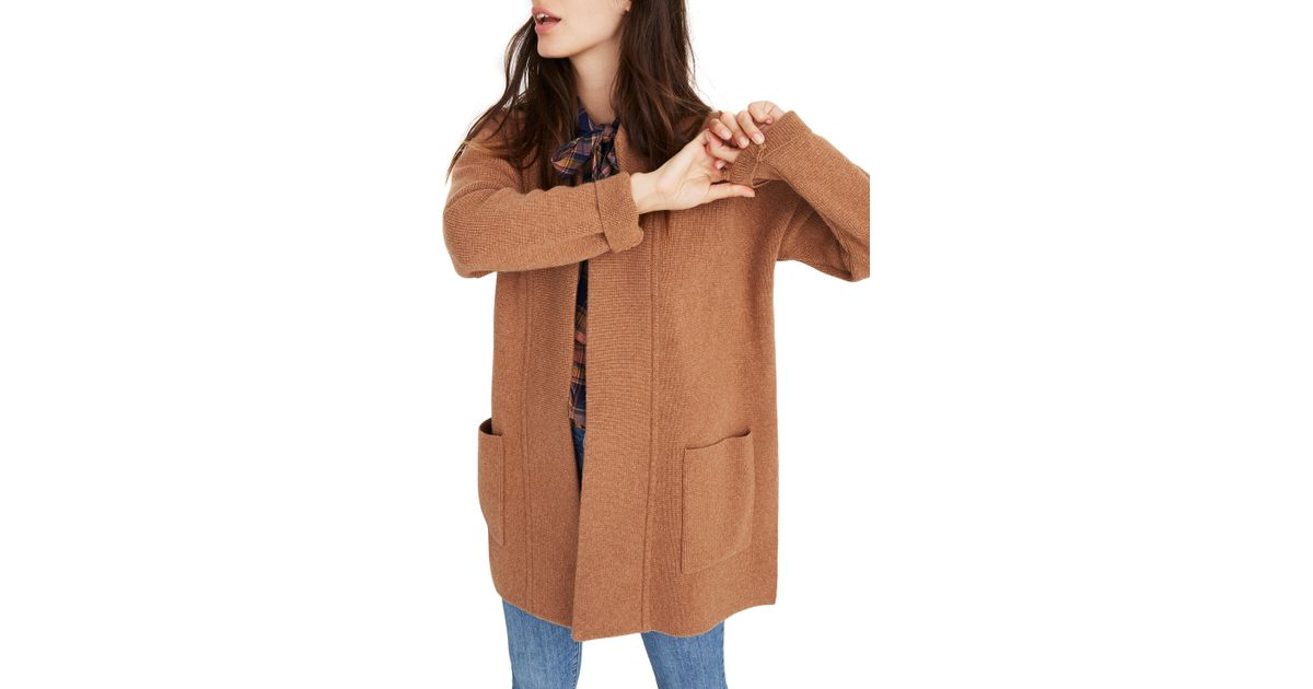 Lyst Madewell Spencer Sweater Coat Regular Plus Size In Brown