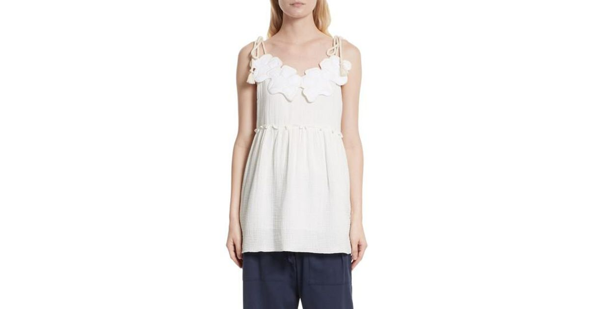 Lyst - See By Chloé Floral Applique Peplum Top in White