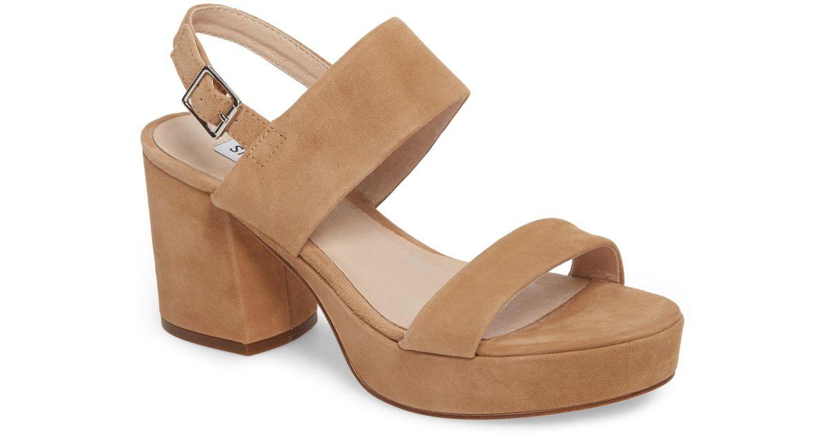 32205fb526b1 Lyst - Steve Madden Reba Slingback Platform Sandal in Brown