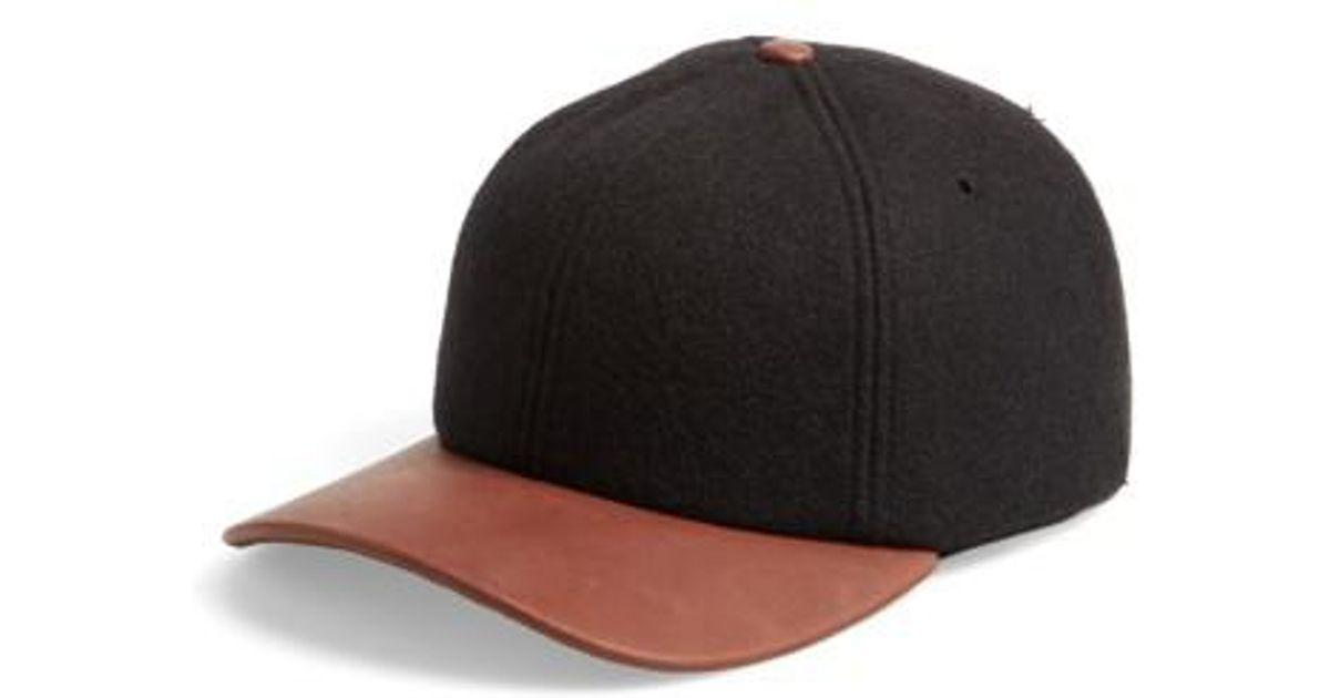 6b592daae4a720 Lyst - Crown Cap Melton Wool Blend Baseball Cap in Black for Men