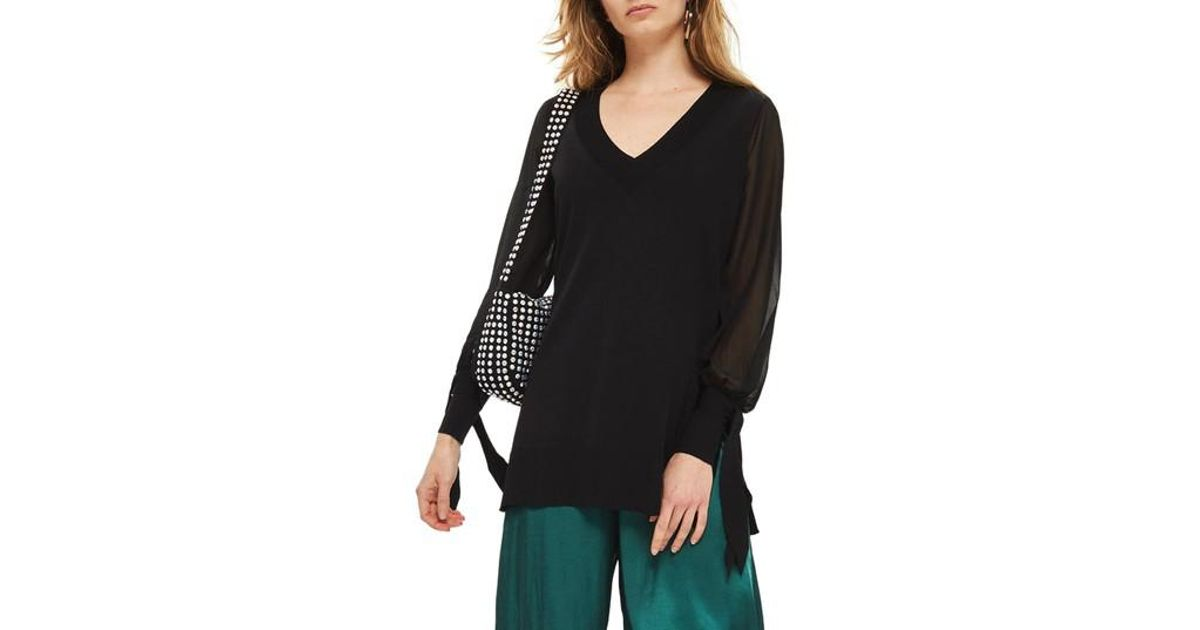 Topshop Chiffon Sleeve Longline Sweater in Black | Lyst