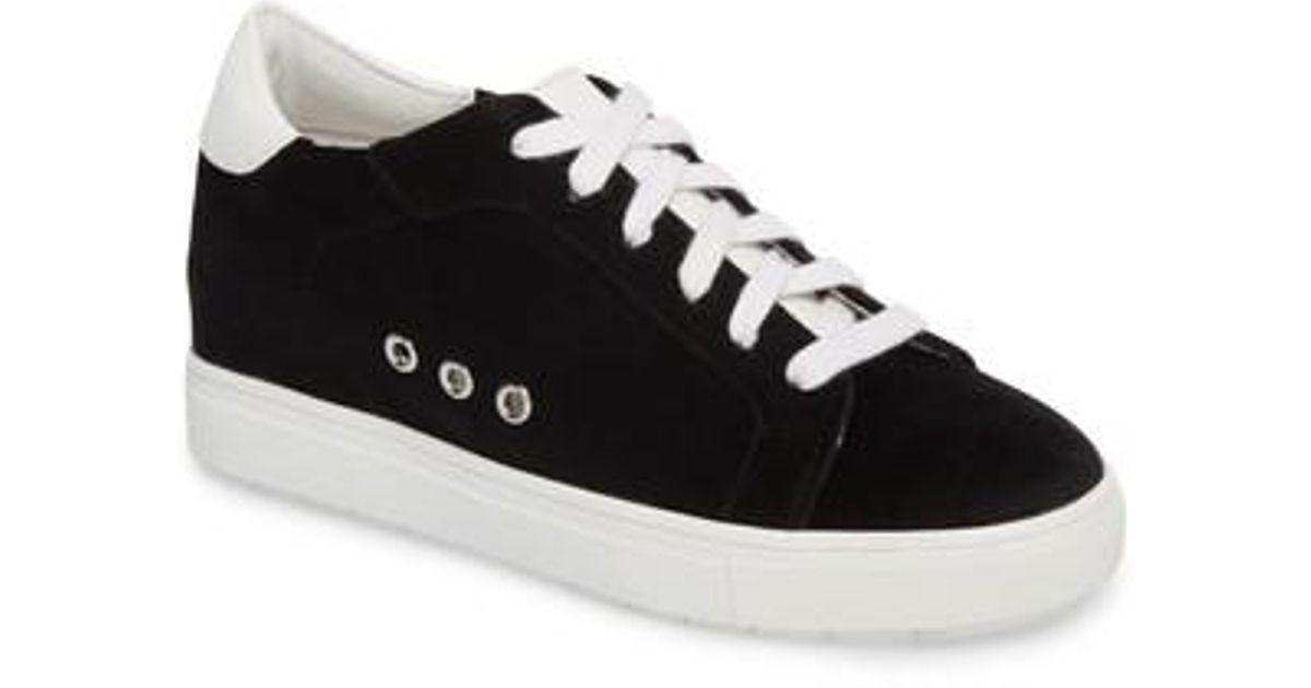 6e4592cde68 Lyst - Steve Madden Velvet Steal Concealed Wedge Sneaker in Black