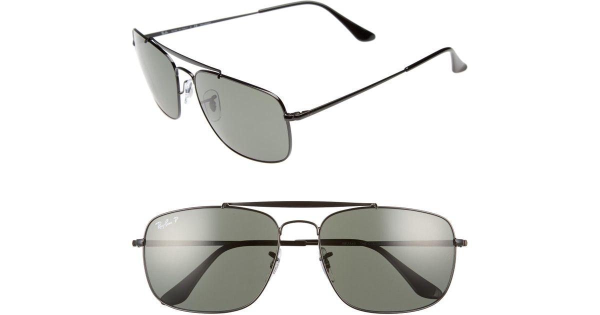 58d9cd6e9e Lyst - Ray-Ban The Colonel Square 61mm Polarized Sunglasses - in Metallic  for Men