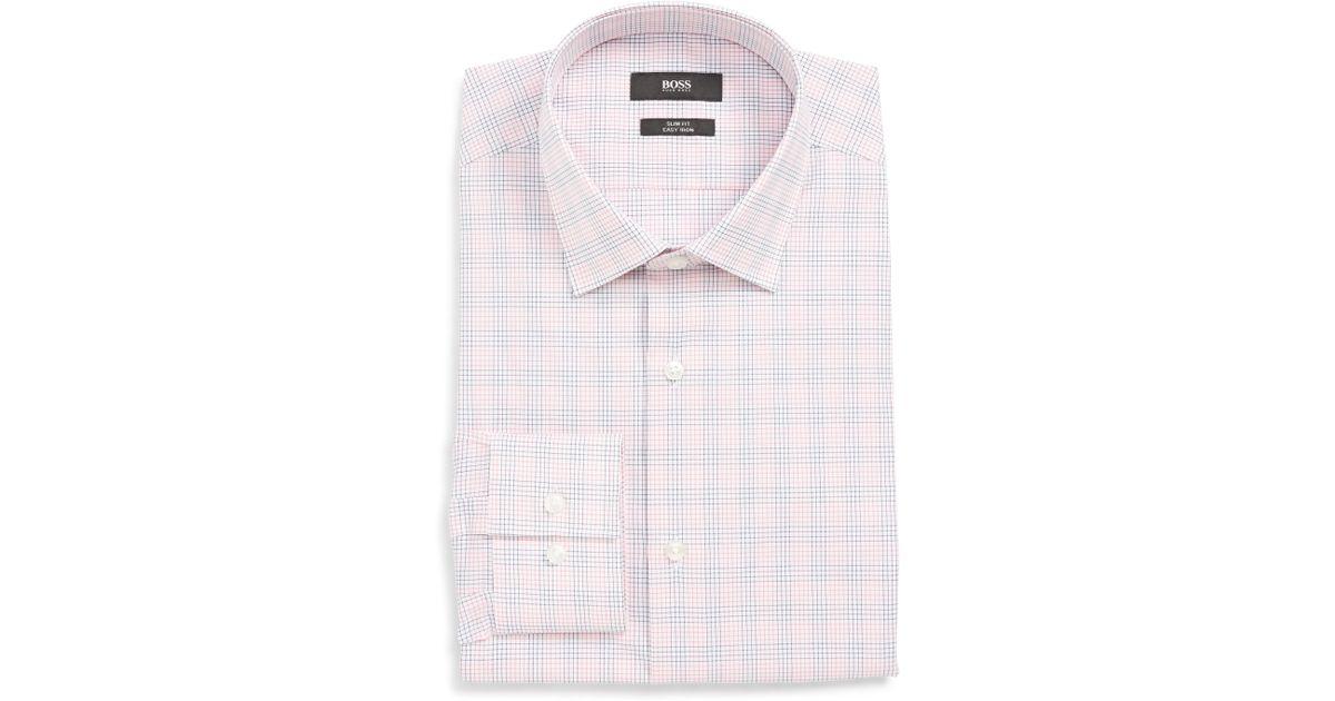 e761b54c Lyst - BOSS Jenno Slim Fit Easy Iron Check Dress Shirt in Red for Men