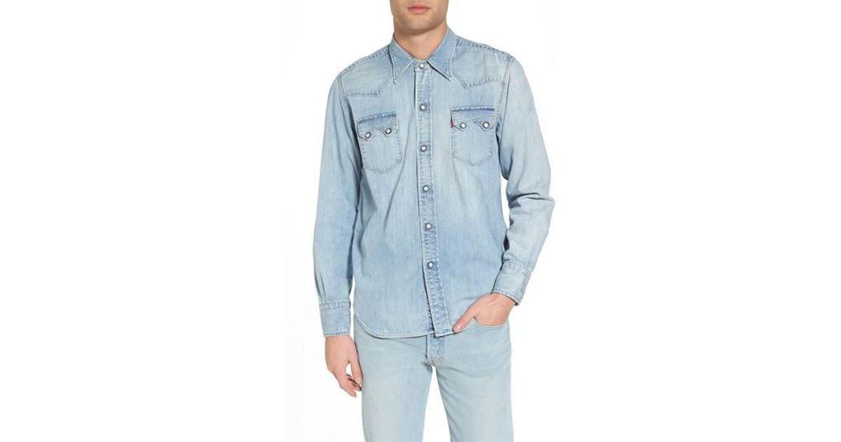 23b83892 Levi's Levi's Vintage Clothing 1955 Sawtooth Trim Fit Denim Western Shirt  in Blue for Men - Lyst