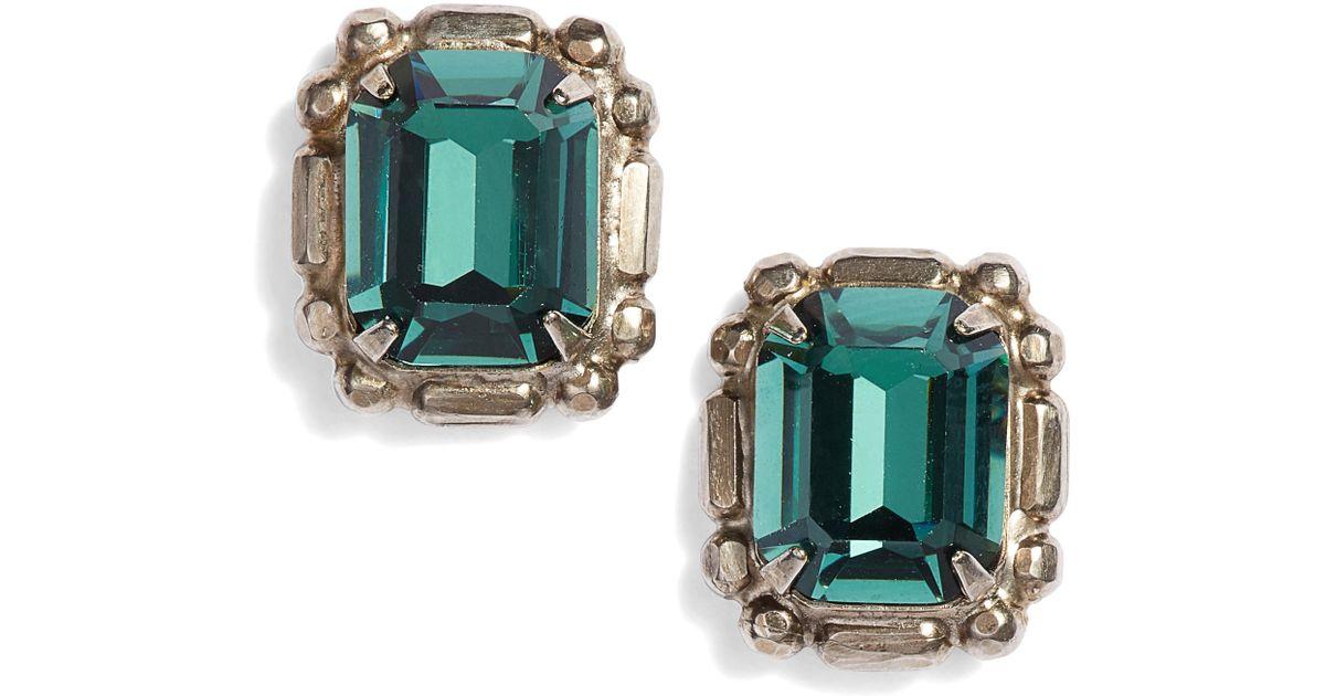 13d65241f ... lyst sorrelli emerald cut crystal stud earrings in blue ...