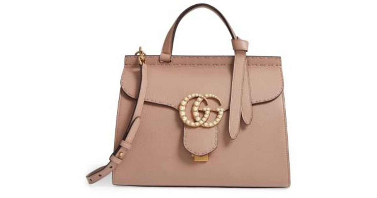 97e631ff0abc55 Gucci Gg Marmont Imitation Pearl Logo Top Handle Leather Satchel - Lyst