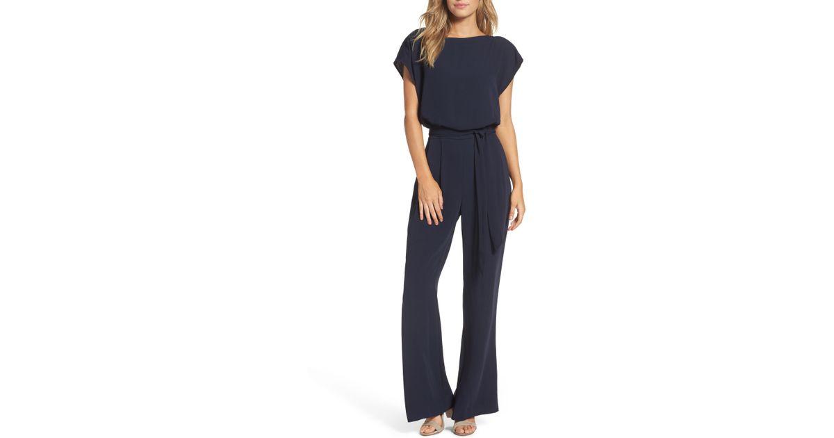 429df2d70c2b Eliza J Cap Sleeve Wide Leg Jumpsuit in Blue - Lyst