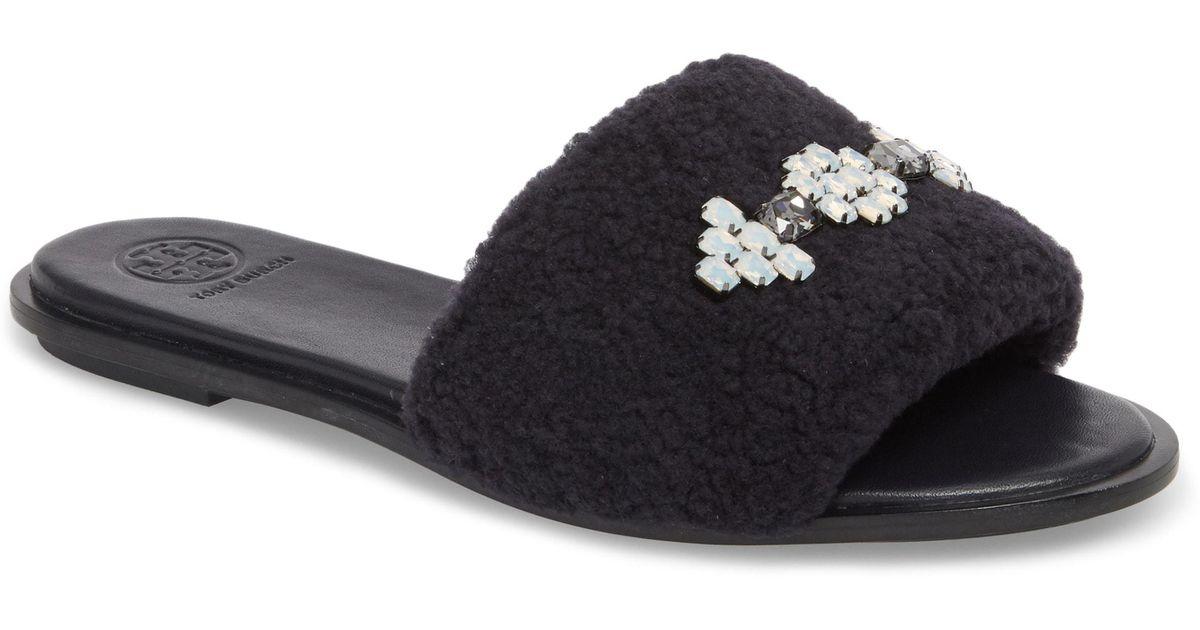 be3460c7a248 Lyst - Tory Burch Embellished Genuine Shearling Slide Sandal