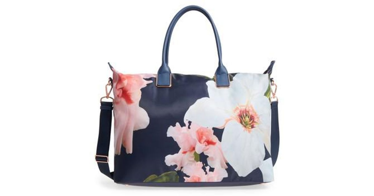 e6345c904ac5 Lyst - Ted Baker Large Orchida Chatsworth Bloom Nylon Tote in Blue