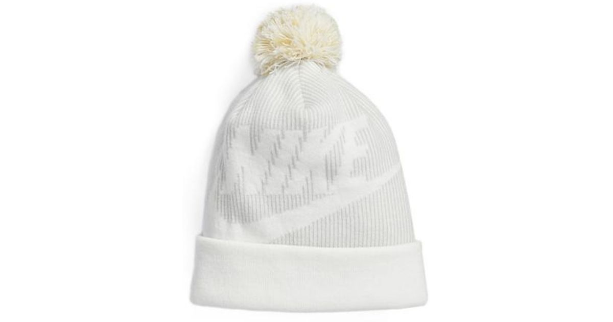 aaed0fbdffb Lyst - Nike Sportswear Beanie With Removable Pom in White