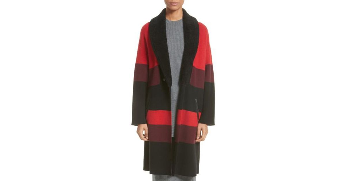 2242e364f4f8 Lyst - St. John Double Knit Felted Wool Blend Coat With Genuine Shearling  Collar