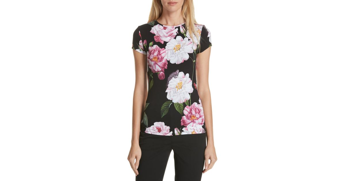 27ce22027fdfd Lyst - Ted Baker Daleyza Iguazu Fitted Tee in Black