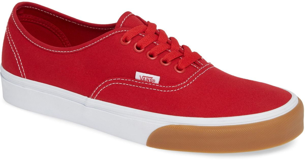 Lyst - Vans Authentic Gum Bumper Sneaker in Red for Men 3a7a8249a
