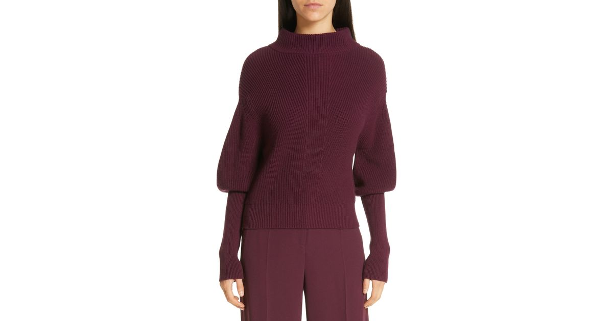 aa959be166 BOSS Flix Balloon Sleeve Sweater in Purple - Save 47% - Lyst