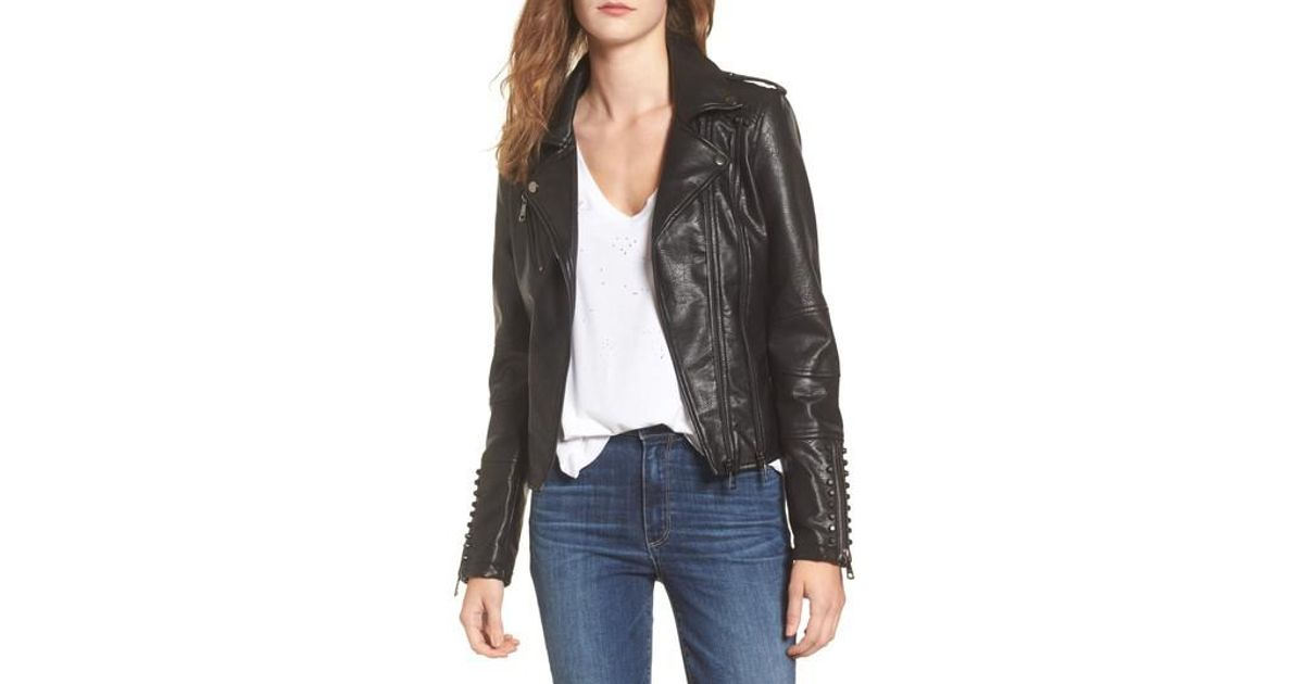 Naomi Studded Faux Leather Biker Jacket
