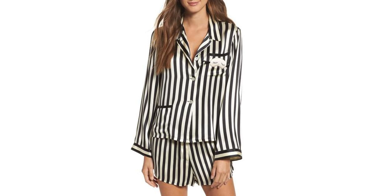 Lyst - Morgan Lane X Amanda Fatherazi Ruthie Mini Mask Stripe Pajama Top in  Black aca2c4451