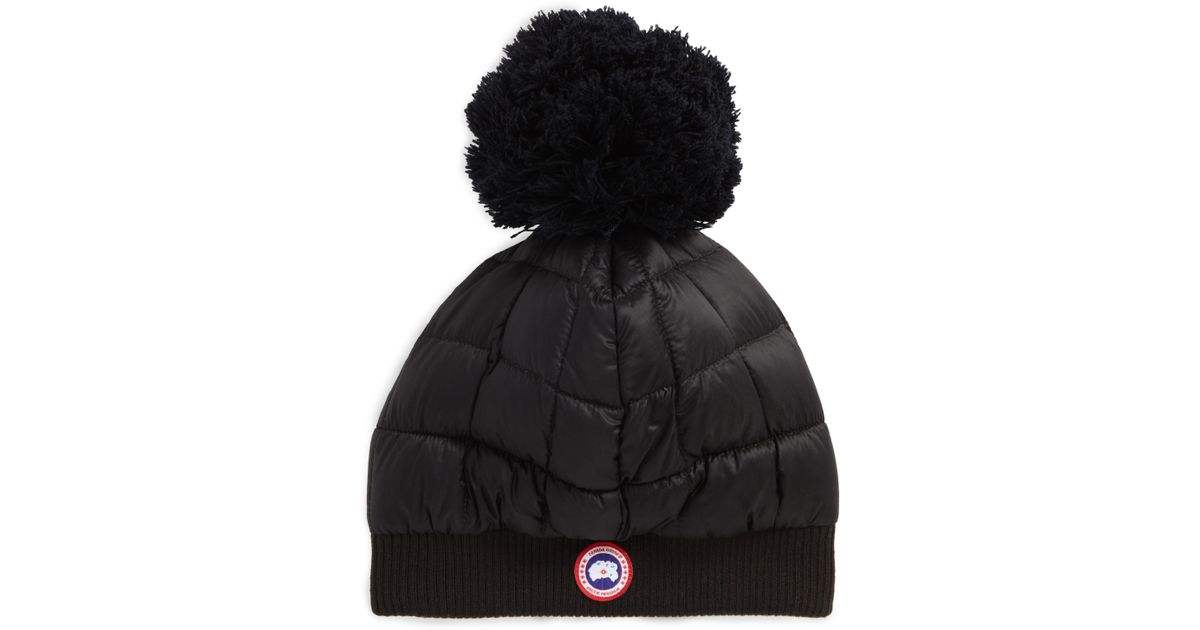f4cdc7d070e Lyst - Canada Goose Quilted Down Pom Beanie - in Black
