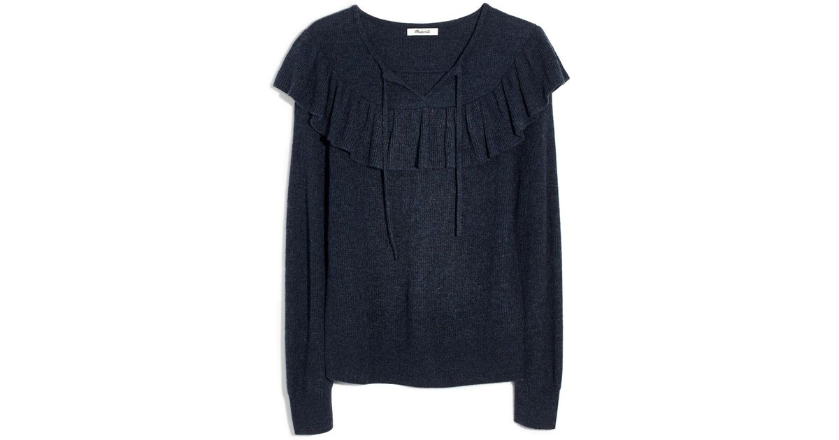 e020fc44dbf5 Lyst - Madewell Ruffled Tie Front Pullover Sweater in Blue