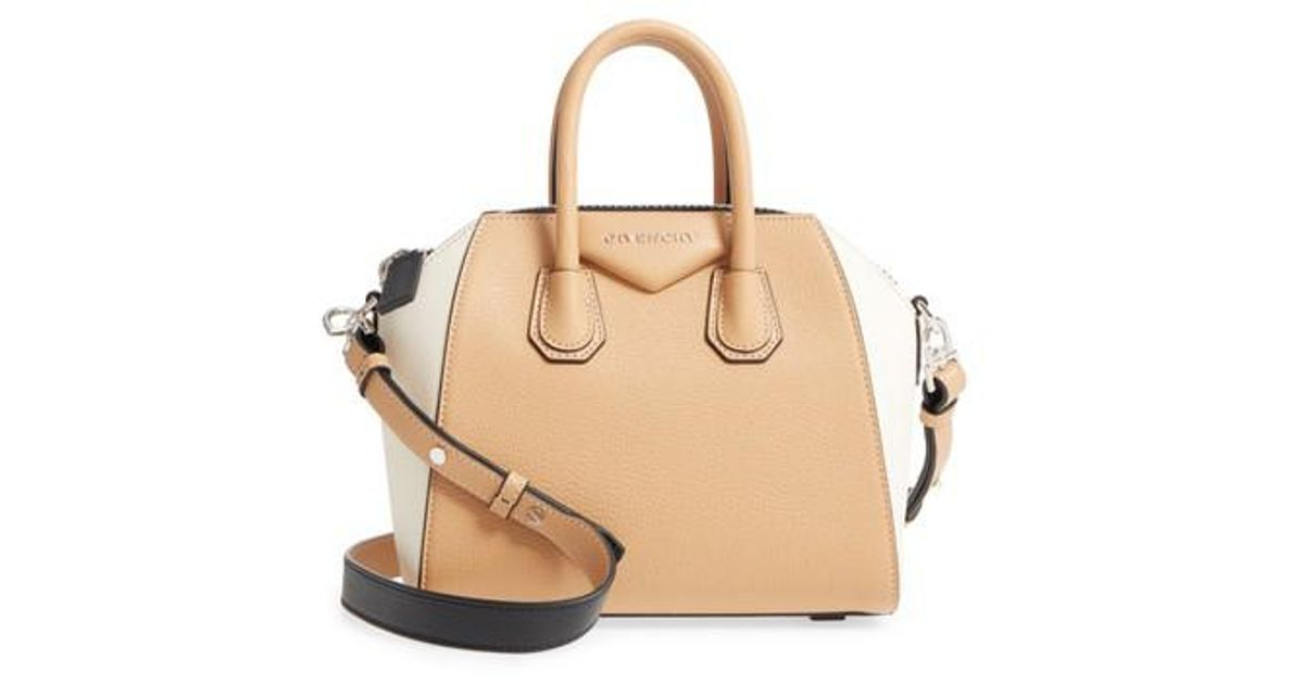 087165afc267 Lyst - Givenchy Mini Antigona Bicolor Sugar Leather Satchel in Natural