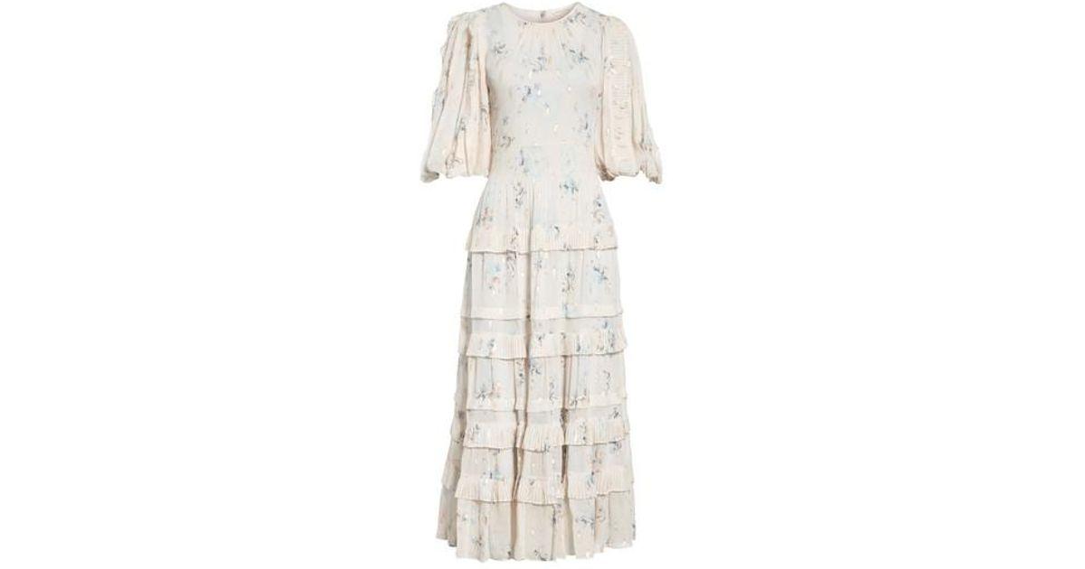 d98621333 Rebecca Taylor Metallic Faded Floral Midi Dress in Metallic - Lyst
