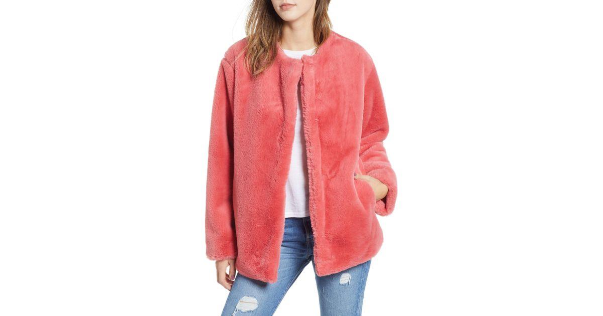 ff15d9e628e Lyst - Bernardo Borg Faux Fur Jacket in Pink - Save 42%
