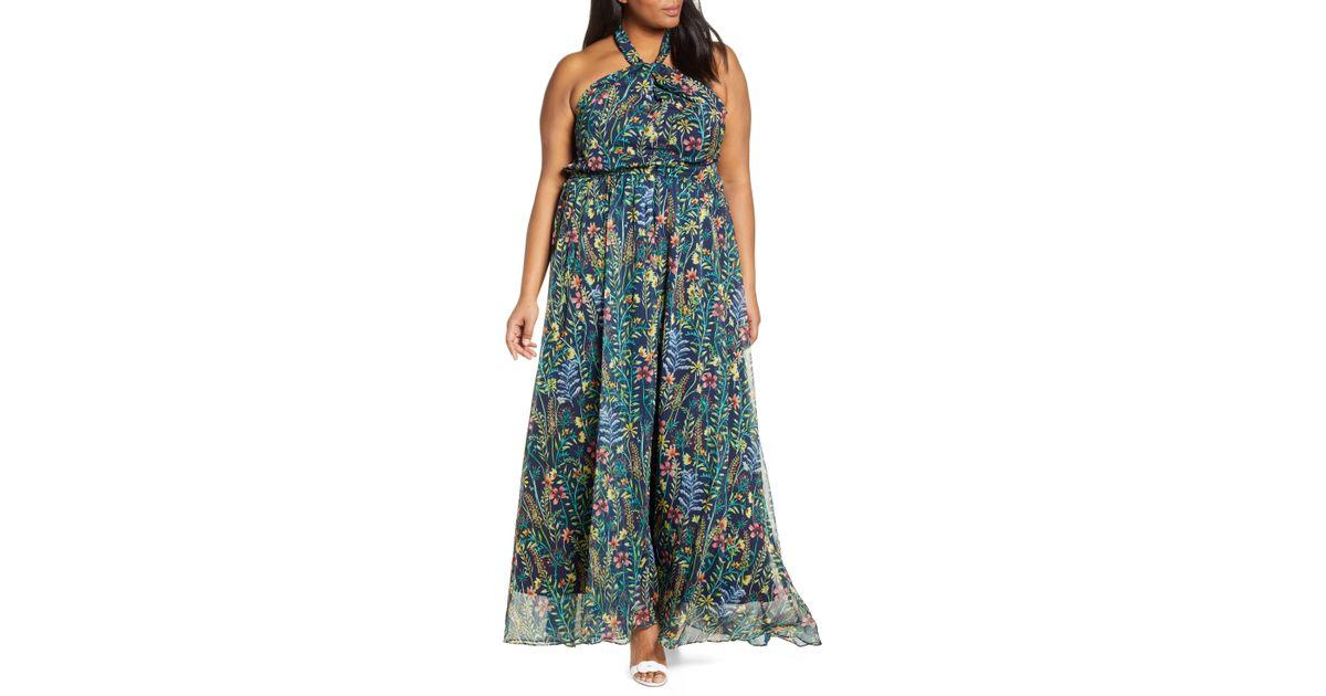 a6163c36b8 Lyst - Eloquii Jason Wu X Floral Print Halter Maxi Dress in Blue