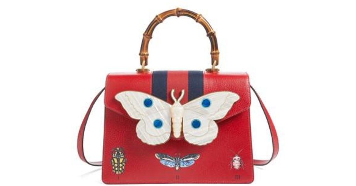 5f8d325f144 Lyst - Gucci Small Falena Moth Top Handle Leather Satchel in Red