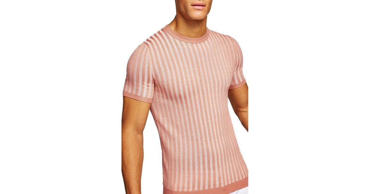e7febe7b Lyst - TOPMAN Muscle Fit Ribbed T-shirt in Pink for Men