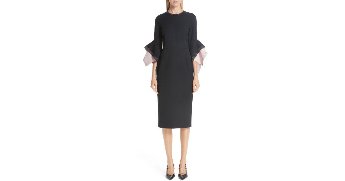 b73e34294a8a Lyst - ROKSANDA Bicolor Flutter Sleeve Crepe Sheath Dress in Black