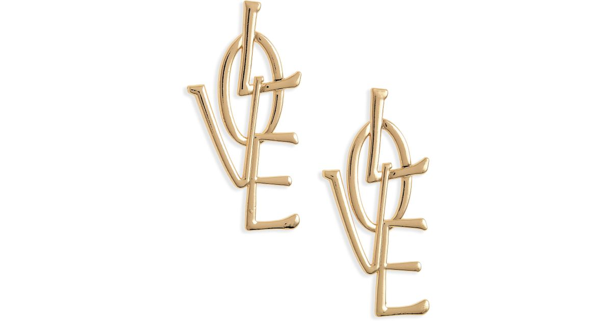 8f2563f0c783e9 Lyst - Mad Jewels Love Earrings in Metallic