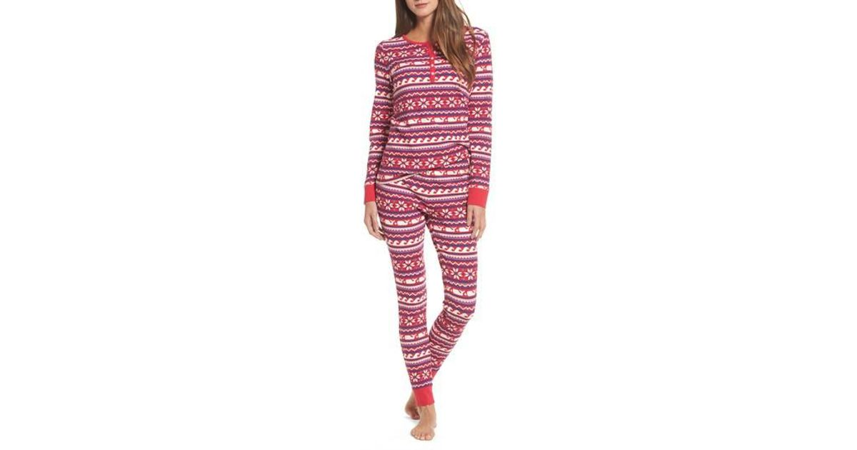 Lyst - Vineyard Vines Whale Isle Waffle Knit Pajama Set in Red b84f287f6