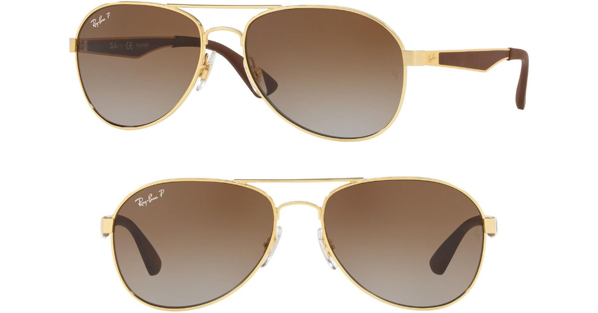 c79ae8bae301 Lyst - Ray-Ban Active Lifestyle 61mm Polarized Pilot Sunglasses in Metallic  for Men