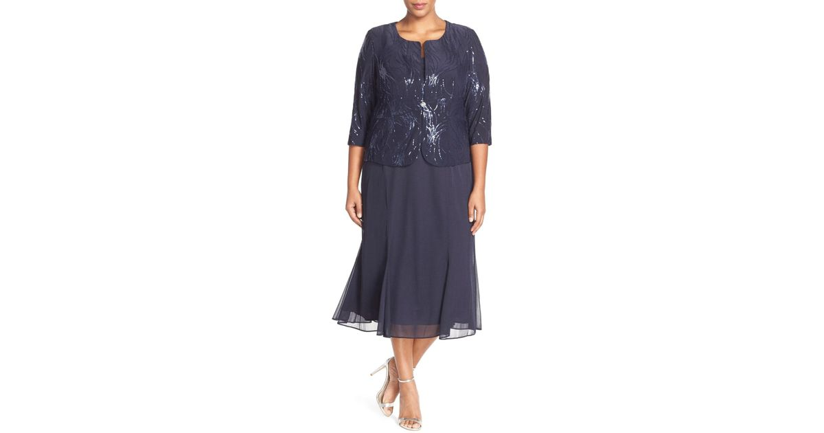 84467f6fd2f Lyst - Alex Evenings Sequin Mock Two-piece Dress With Jacket (plus Size) in  Blue