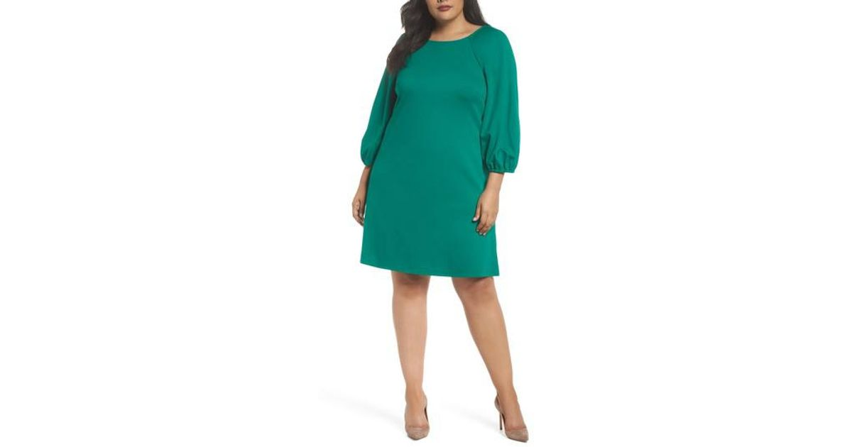 57fa8a27f02 Lyst - Eliza J Balloon Sleeve Shift Dress in Green