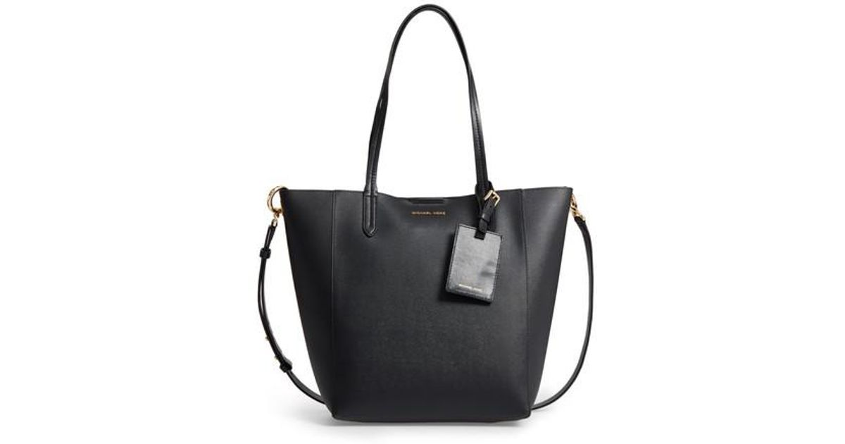 c3028e6e4a5a Lyst - MICHAEL Michael Kors Penny Large Saffiano Convertible Leather Tote  in Black