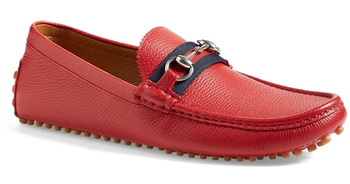 65116d0e27f Lyst - Gucci  damo  Driving Shoe in Red for Men
